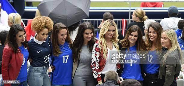 France's forward Olivier Giroud's wife Jennifer Giroud France's forward Olivier Giroud's wife Jennifer Giroud Tiziri wife of France's defender Lucas...