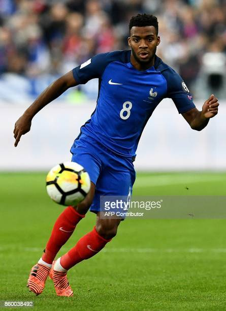 France's forward Thomas Lemar controls the ball during the FIFA World Cup 2018 qualification football match between France and Belarus at the Stade...