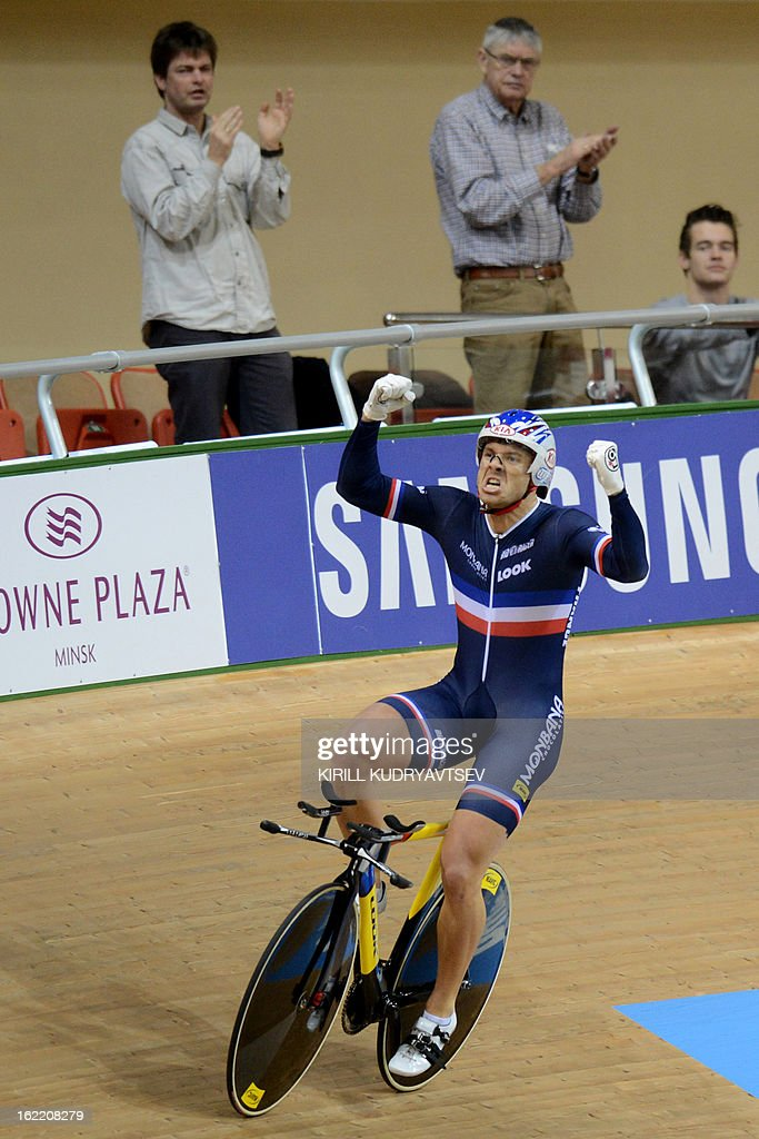 France's Francois Pervis celebrates his victory in the UCI Track Cycling World Championships men's time trial in Minsk on February 20, 2013.