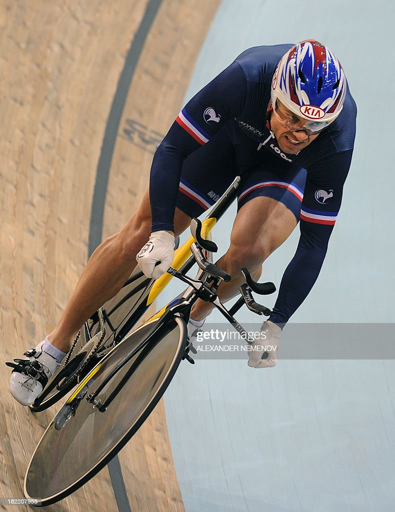 France's Francois Pervis competes for the gold during the men's kilometre time trial event of UCI Track Cycling World Championships in Minsk on February 20, 2013.