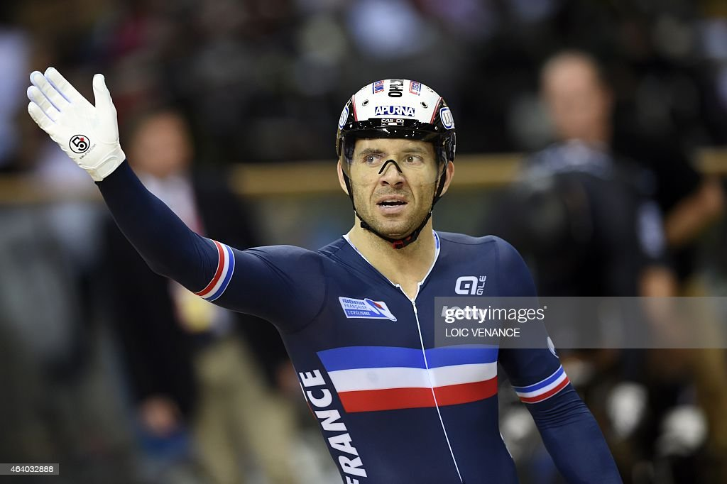 France's <a gi-track='captionPersonalityLinkClicked' href=/galleries/search?phrase=Francois+Pervis&family=editorial&specificpeople=227088 ng-click='$event.stopPropagation()'>Francois Pervis</a> reacts after competing in the Men's Sprint round of 16 Finals Repechages at the UCI Track Cycling World Championships in Saint-Quentin-en-Yvelines, near Paris, on February 21, 2015.