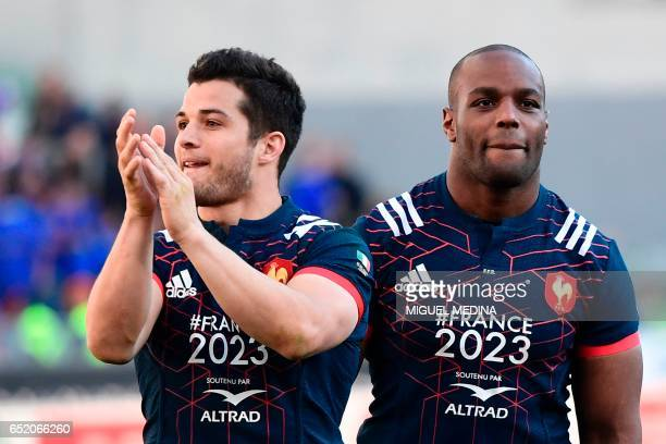 France's fullback Brice Dulin and France's prop Eddy Ben Arous celebrate after winning 1840 the International Six Nations rugby union match Italy vs...