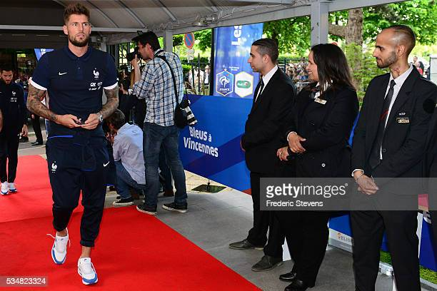 France's goalkeeper Benoit Costil arrives at Vincennes racetrack ahead of the Euro 2016 European football championships on May 27 2016 in Vincennes...