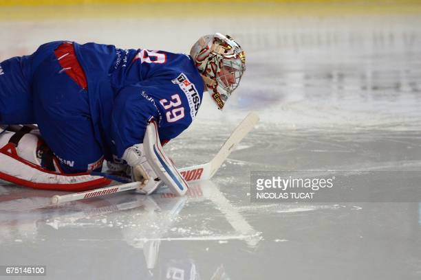 TOPSHOT France's goalkeeper Cristobal Huet looks on during the friendly ice hockey match between France and Belarus in Bordeaux on April 30 2017 /...