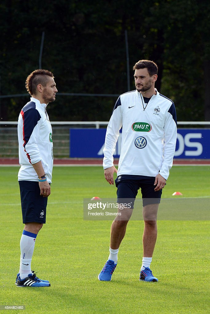 France's goalkeeper <a gi-track='captionPersonalityLinkClicked' href=/galleries/search?phrase=Hugo+Lloris&family=editorial&specificpeople=2501893 ng-click='$event.stopPropagation()'>Hugo Lloris</a>(R) and defender <a gi-track='captionPersonalityLinkClicked' href=/galleries/search?phrase=Mathieu+Debuchy&family=editorial&specificpeople=729104 ng-click='$event.stopPropagation()'>Mathieu Debuchy</a> (L) during a training session at the French national football team centre in Clairefontaine-en-Yvelines, on September 1, 2014 in Clairefontaine, France. The first day of their training ahead before the friendly football match against Spain team.
