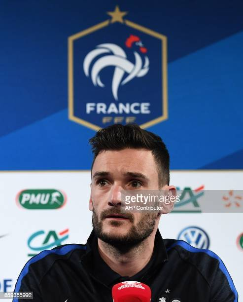 France's goalkeeper Hugo Lloris gives a press conference at the Stade de France stadium in SaintDenis north of Paris on October 9 on the eve of the...