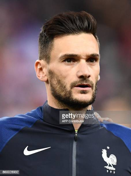 France's goalkeeper Hugo Lloris poses ahead of the FIFA World Cup 2018 qualification football match between France and Belarus at the Stade de France...