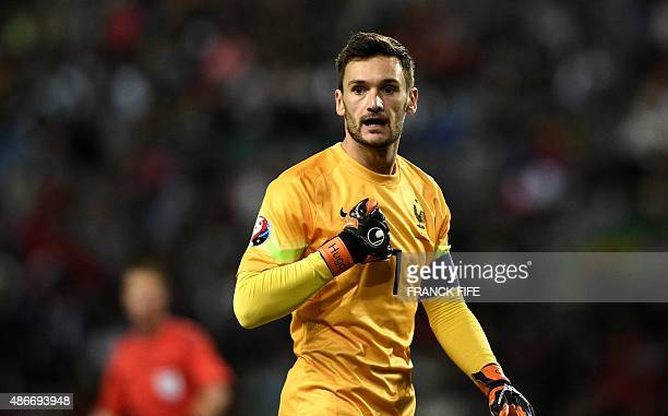 France's goalkeeper Hugo Lloris reacts during the Euro 2016 friendly football match Portugal vs France at the Jose Alvalade stadium in Lisbon on...