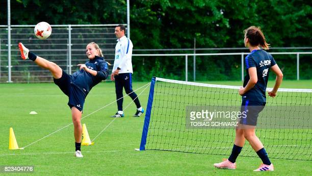 France's goalkeeper Meline Gerard takes part in a training session during the UEFA Women's Euro 2017 football tournament in Zwijndrecht on July 27...