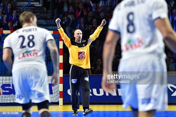 France's goalkeeper Thierry Omeyer celebrates a goal during the 25th IHF Men's World Championship 2017 Group A handball match Japan vs France on...