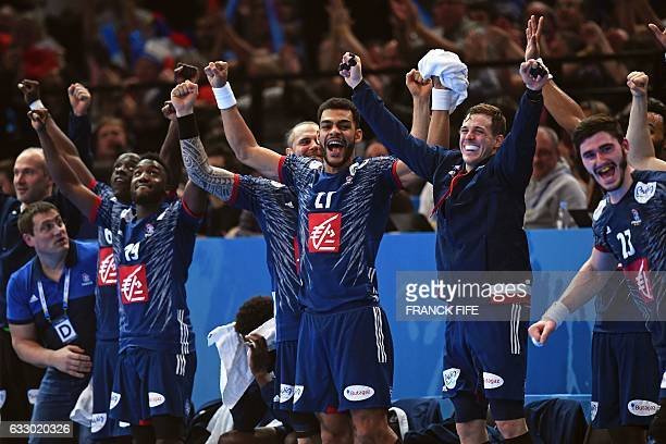 France's goalkeeper Thierry Omeyer France's left back Guy Olivier Nyokas France's right wing Luc Abalo France's right back Adrien Dipanda France's...