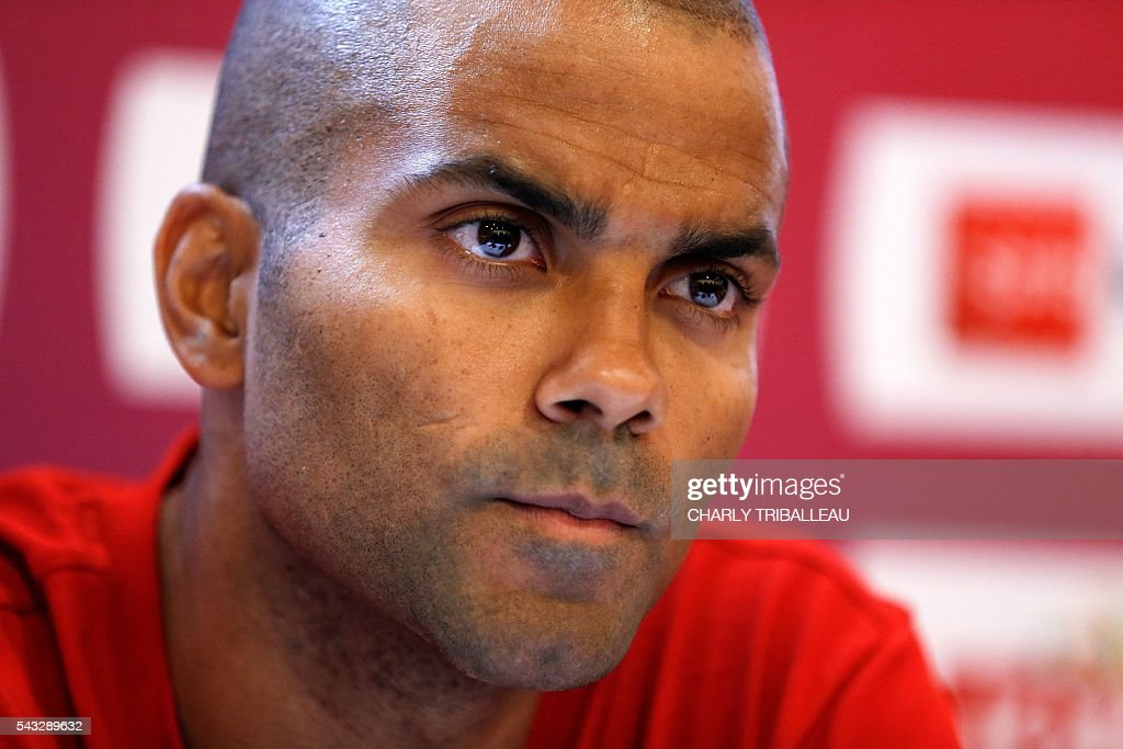 France's guard Tony Parker reacts during a press conference on June 27, 2016 in Rouen, northwestern France a day before the basketball match between France and Japan. / AFP / CHARLY