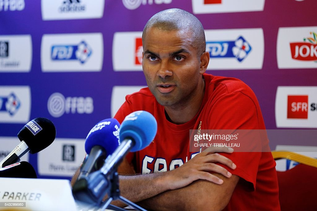 France's guard Tony Parker speaks during a press conference on June 27, 2016 in Rouen, northwestern France a day before the basketball match between France and Japan. / AFP / CHARLY