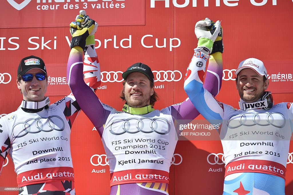 France's Guillermo Fayed celebrates after taking third place of the Men's downhill of the FIS Alpine Skiing World Cup in Meribel on March 18 2015 AFP...