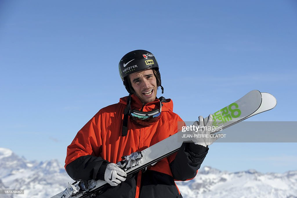 France's halfpipe skier Kevin Rolland poses for a picture during a training session in Tignes on November 8, 2013 ahead of the 2014 Winter Olympics in Sochi. AFP PHOTO /JEAN-PIERRE CLATOT