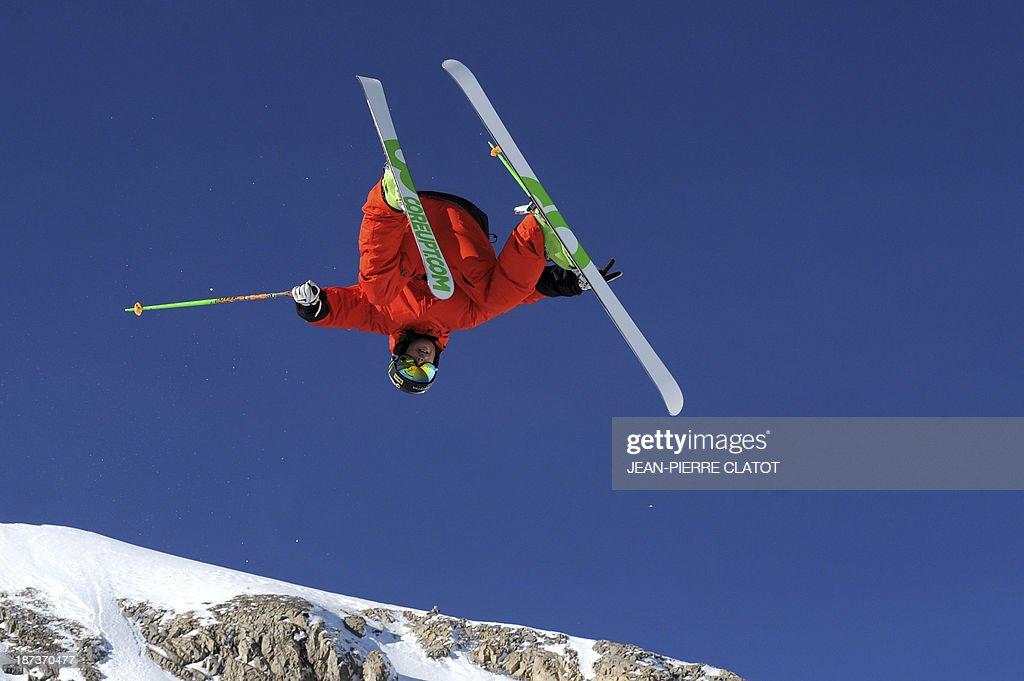 France's halfpipe skier Kevin Rolland trains during a practice session in Tignes on November 8, 2013 ahead of the 2014 Winter Olympics in Sochi.