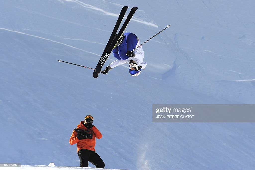 France's halfpipe skier Marie Martinod trains during a practice session in Tignes on November 8, 2013 ahead of the 2014 Winter Olympics in Sochi.
