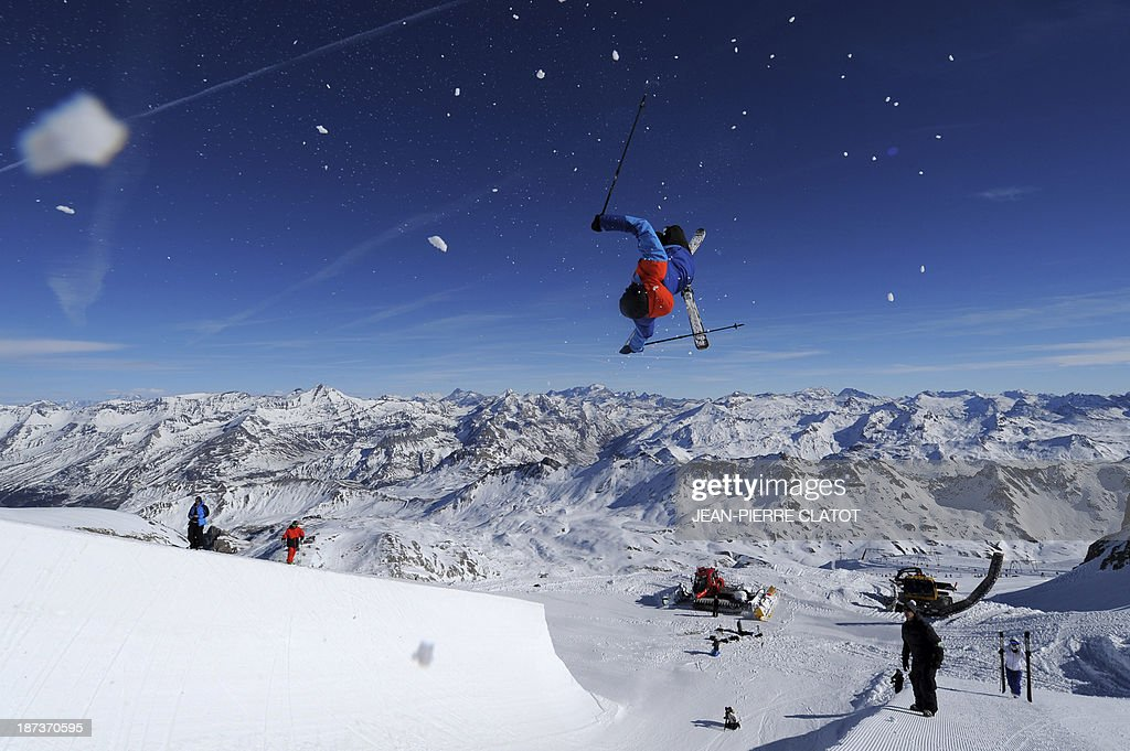 France's halfpipe skier Thomas Krief trains during a practice session in Tignes on November 8, 2013 ahead of the 2014 Winter Olympics in Sochi.