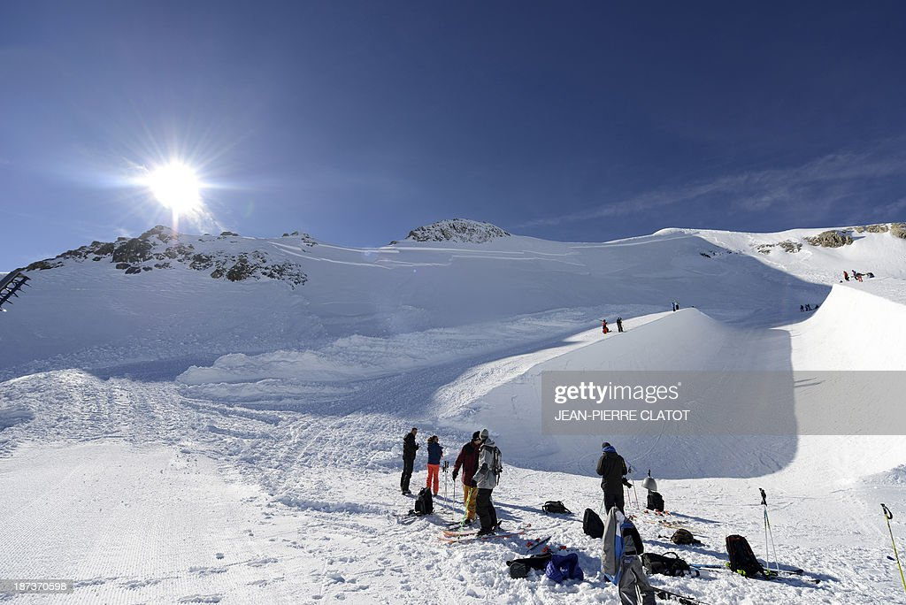 France's halfpipe skiers gather for a practice session in Tignes on November 8, 2013 ahead of the 2014 Winter Olympics in Sochi.