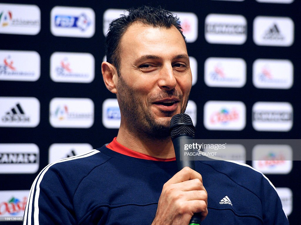 France's handball national team captain Jerome Fernandez speaks during a press conference on Janaury 8, 2013 in Montpellier, southern France, on the eve of a friendly match against Argentina.