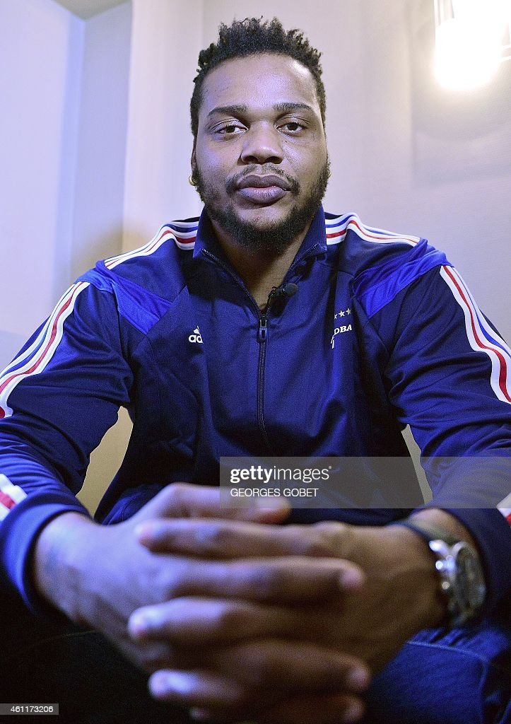 France's handball player <a gi-track='captionPersonalityLinkClicked' href=/galleries/search?phrase=Cedric+Sorhaindo&family=editorial&specificpeople=564416 ng-click='$event.stopPropagation()'>Cedric Sorhaindo</a> poses during a press conference in Nantes on January 8, 2015 ahead of the 2015 World Men's Handball Championship.