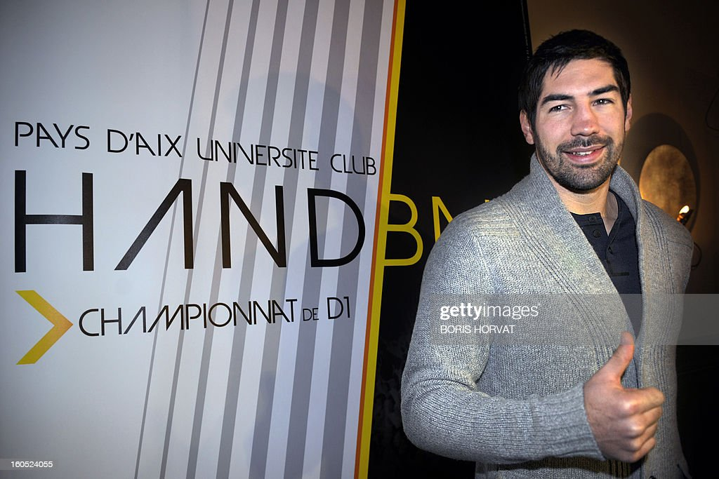 France's handball player Nikola Karabatic thumbs up after he signed a contract with the handball club of Aix-en-Provence (PAUC) on February 2, 2013 in Aix-en-Provence, southern France.