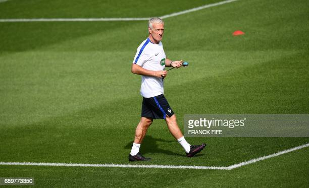 TOPSHOT France's head coach Didier Deschamps attends a training session in ClairefontaineenYvelines on May 29 2017 Team France prepares for the...