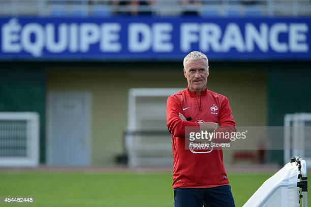 France's head coach Didier Deschamps during a training session at the French national football team centre in ClairefontaineenYvelines on September 1...