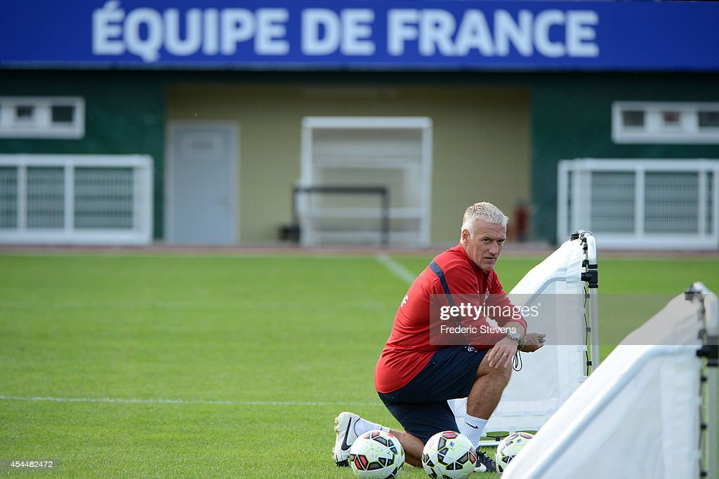 France's head coach <a gi-track='captionPersonalityLinkClicked' href=/galleries/search?phrase=Didier+Deschamps&family=editorial&specificpeople=213607 ng-click='$event.stopPropagation()'>Didier Deschamps</a> during a training session at the French national football team centre in Clairefontaine-en-Yvelines, on September 1, 2014 in Clairefontaine, France.The first day of their training ahead before the friendly football match against Spain team.