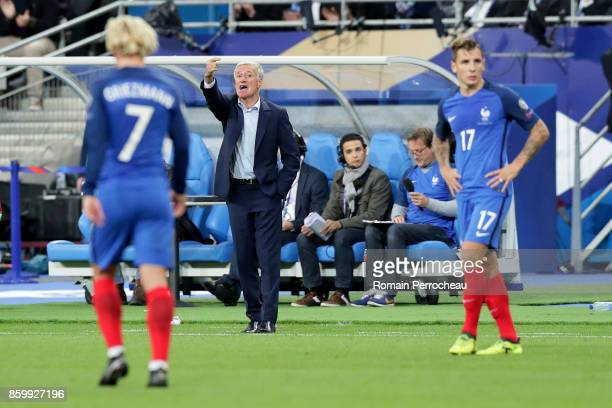 France's head coach Didier Deschamps gestures during the FIFA 2018 World Cup Qualifier between France and Belarus at Stade de France on October 10...