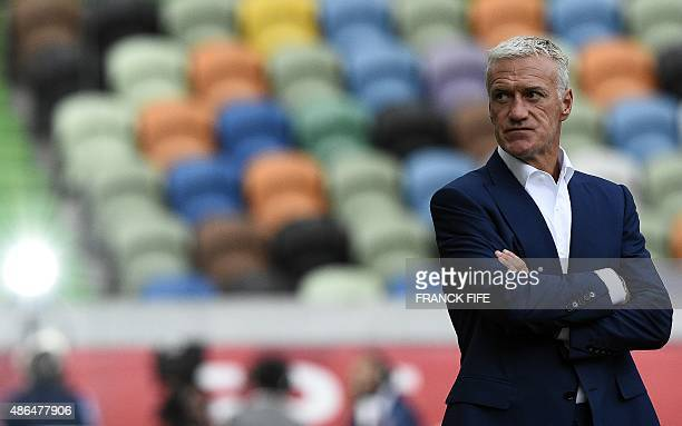 France's head coach Didier Deschamps looks on before the Euro 2016 friendly football match Portugal vs France at the Jose Alvalade stadium in Lisbon...