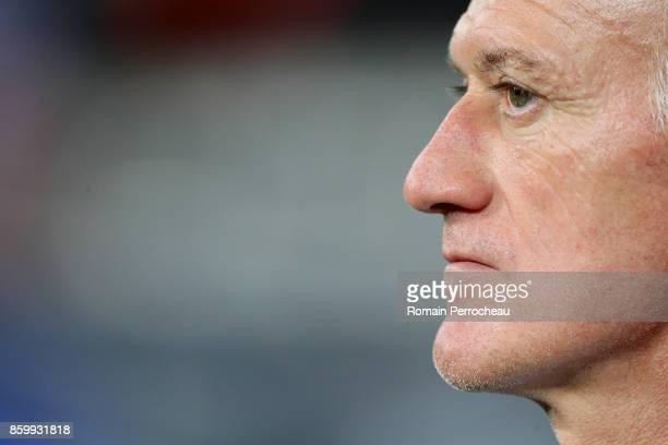 France's Head coach Didier Deschamps looks on before the FIFA 2018 World Cup Qualifier between France and Belarus at Stade de France on October 10...