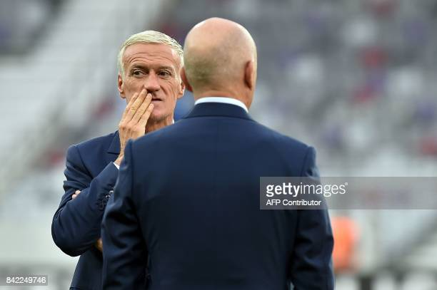 France's head coach Didier Deschamps looks on before the FIFA World Cup 2018 qualifying football match France vs Luxembourg on September 3 2017 at...
