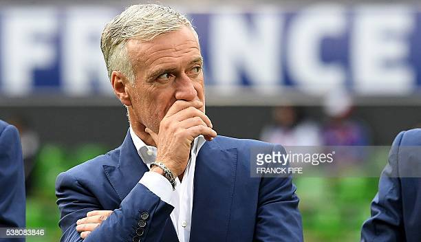 France's head coach Didier Deschamps looks on before the friendly football match between France and Scotland at the St Symphorien Stadium in Metz...