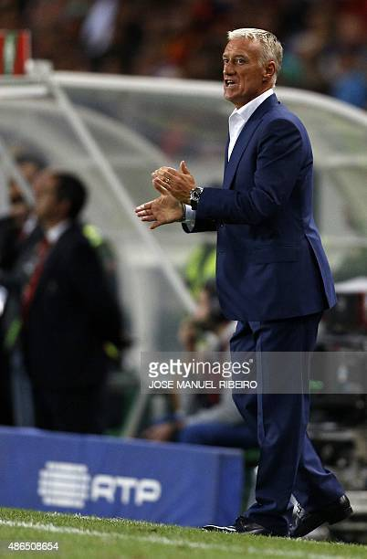 France's head coach Didier Deschamps shouts to his players during the Euro 2016 friendly football match Portugal vs France at the Jose Alvalade...