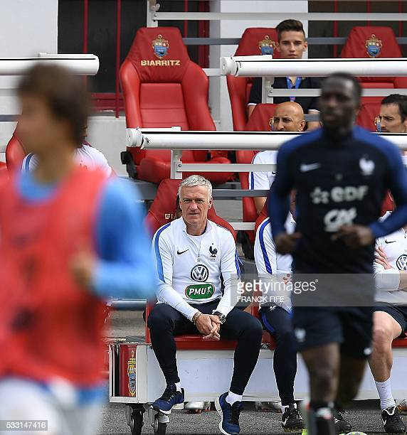 France's head coach Didier Deschamps supervises his players during a friendly match between French national football team and Bayonne at the Aguilera...