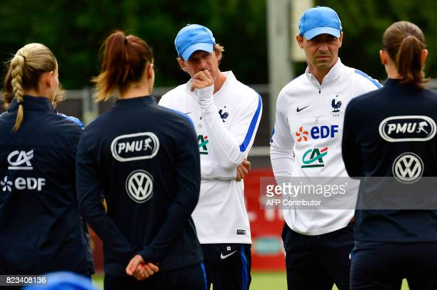 France's head coach Olivier Echouafni and his assistant Frederic Nee attend a training session during the UEFA Women's Euro 2017 football tournament...