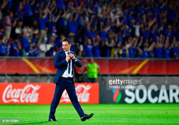 France's head coach Olivier Echouafni leaves the pitch after the UEFA Women's Euro 2017 football tournament match between France and Iceland at...