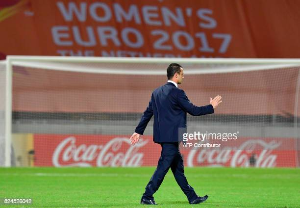 France's head coach Olivier Echouafni reacts after the UEFA Women's Euro 2017 tournament quarterfinal football match between England and France at...