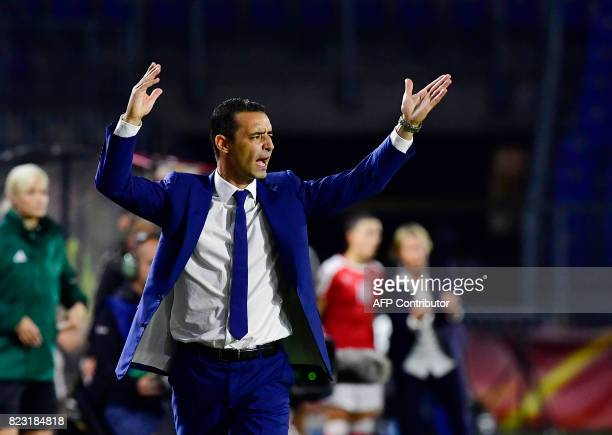 France's head coach Olivier Echouafni reacts during the UEFA Women's Euro 2017 football tournament between Switzerland and France at Rat Verlegh...