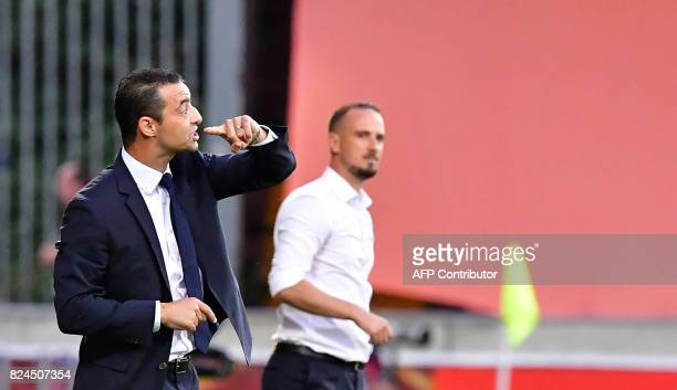 France's head coach Olivier Echouafni reacts during the UEFA Women's Euro 2017 quarterfinal football match between England and France at Stadium De...
