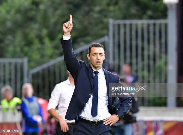 France's head coach Olivier Echouafni reacts during the UEFA Women's Euro 2017 tournament quarterfinal football match between England and France at...