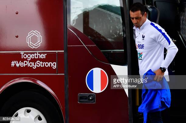 France's head coach Olivier Echouafni steps out of a bus as he arrives to attend a training session during the UEFA Women's Euro 2017 football...