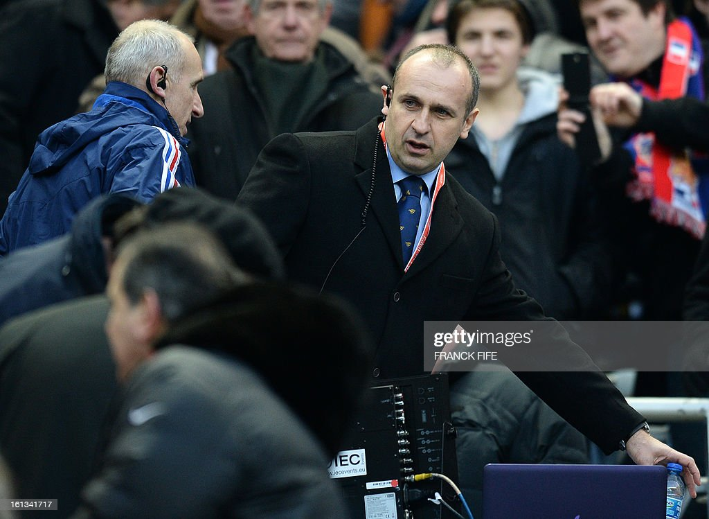 France's head coach Philippe Saint Andre attends the Six Nations Rugby Union match between France and Wales at the Stade de France on February 9, 2013 in Saint-Denis, north of Paris.