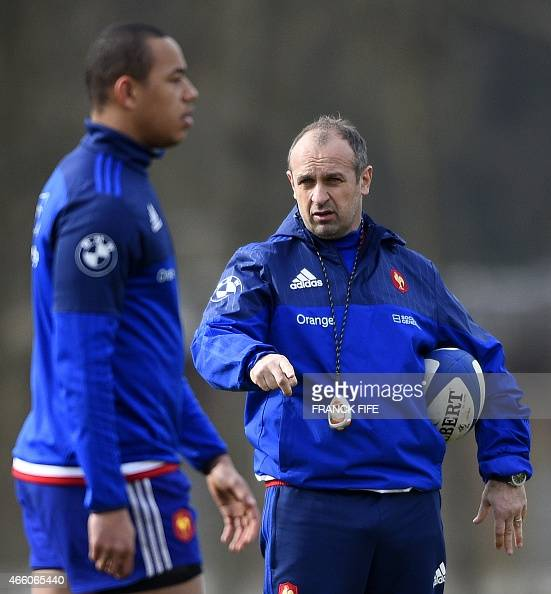 France's head coach Philippe Saint Andre leads a training session on March 13 2015 in Marcoussis south of Paris ahead of their Six Nations tournament...