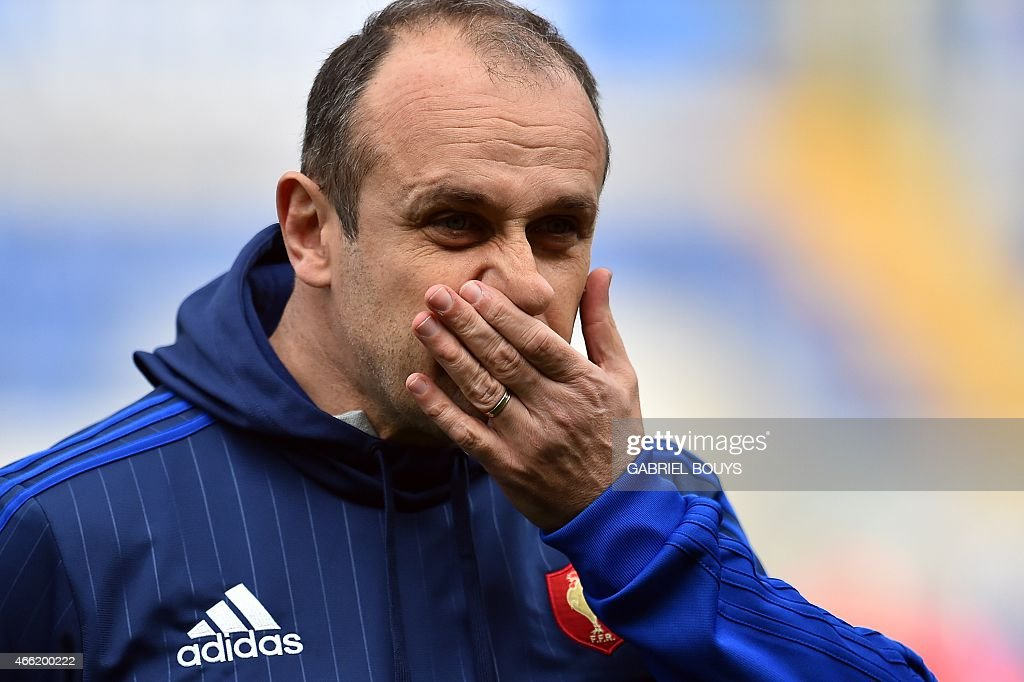 France's head coach Philippe Saint Andre looks on during the captain's run of his team, on March 14, 2015, at the Olympic Stadium in Rome, on the eve of the Six Nations International Rugby Union match between Italy and France.