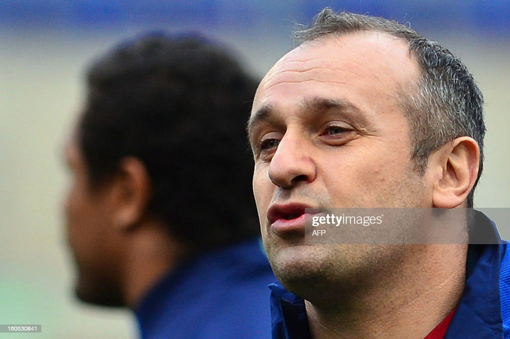 France's head coach Philippe Saint-Andre reacts during the captain's run on the eve of the Six Nations International Rugby Union match between Italy and France at the Olympic Stadium in Rome on February 2, 2013.
