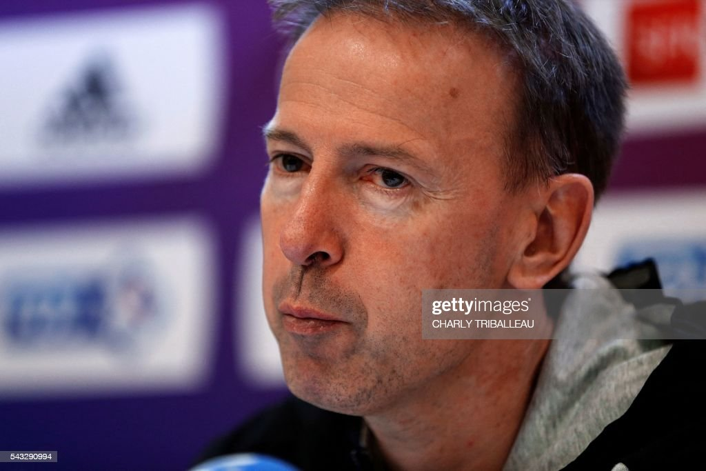 France's head coach Vincent Collet looks on during a press conference in Rouen, northwestern France on June 27, 2016, on the eve of the the basketball match between France and Japan. / AFP / CHARLY