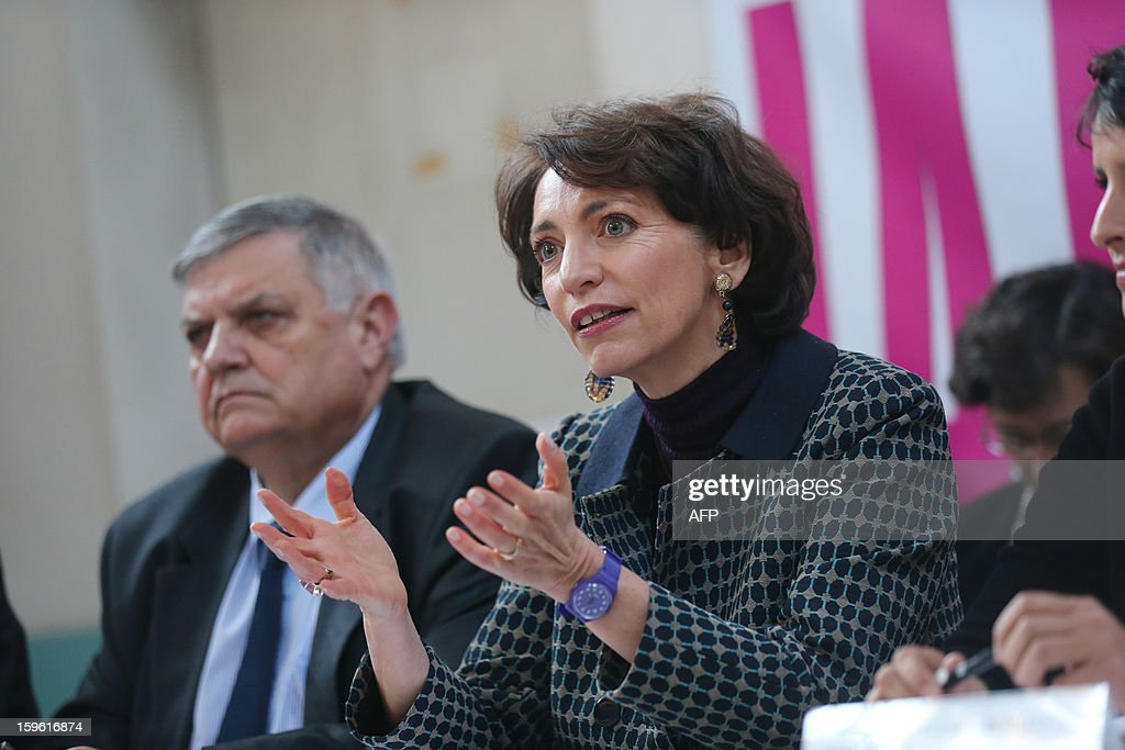 France's Health minister Marisol Touraine and Seine Saint-Denis' prefect Christian Lambert meet with employees of the 'La maternite des Lilas' on January 17, 2013 in the Parisian suburban city of Les Lilas. The visit comes to mark the anniversary of January 17, 1975 law on voluntary abortion (IVG).