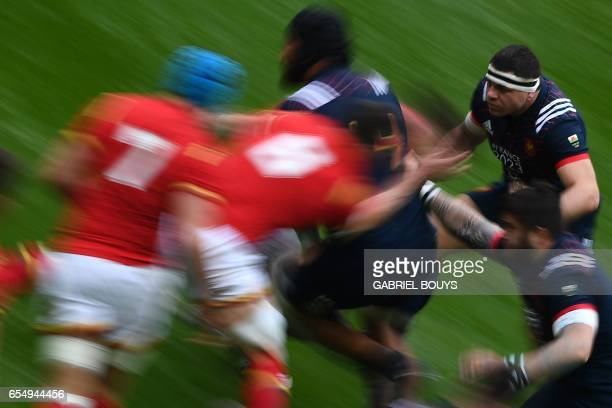 France's hooker Guilhem Guirado plays during the Six Nations tournament Rugby Union match between France and Wales at the Stade de France in...